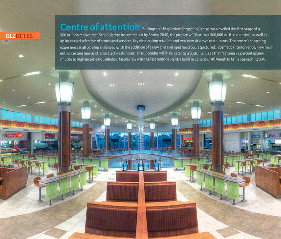 Interior architectural photography Mapleview Mall food court