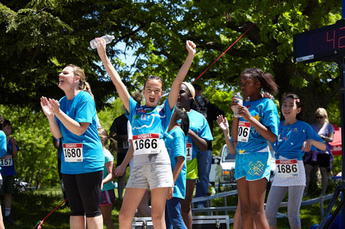 Event Photography of children celebrating at Tim Hortons Run/Walk