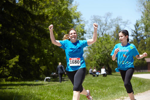 Event Photography of mother celebrating at Tim Hortons Run/Walk