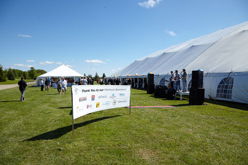 Event Photography for Tim Hortons golf tournament banner by Bochsler Photo imaging
