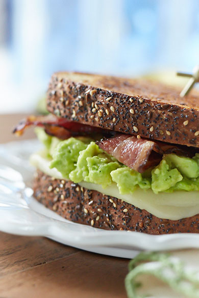 Food Photography Melt Magazine Bacon, Avocado and Tre Stelle Mozzarella Sandwich by Bochsler Commercial Photography