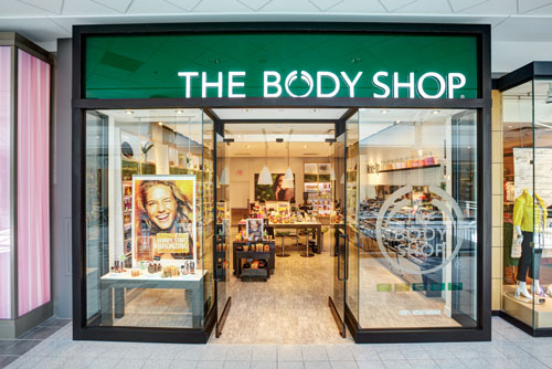 Body Shop beauty products storefront photography for Mapleview Mall Burlington Ontario BP imaging