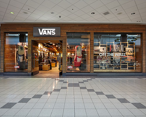 Vans skateboard shoes and clothing storefront photography for Mapleview Centre Burlington Ontario Bochsler commercial photographers