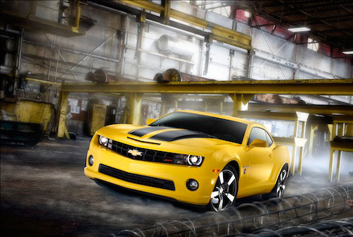 Sport car photography 2013 yellow and black bumblebee transformers Chevrolet Camaro SS in industrial factory