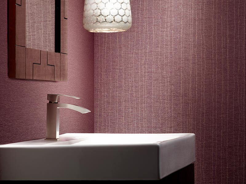 commercial product photography of bathroom with wall covering backdrop