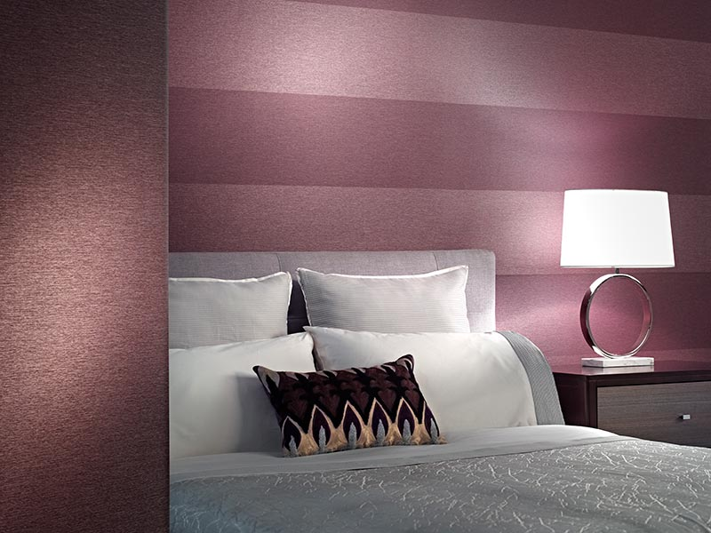 product photography of bedroom scene with wall covering in background