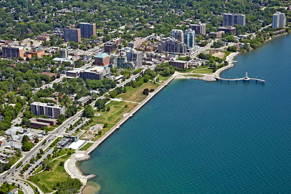Aerial photo of the City of Burlington centering on Spencer Smith Park
