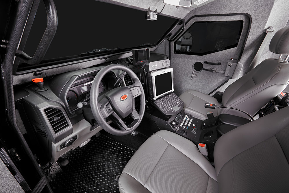 Interior photography of armour Burlington vehicle SWAT Police BP imaging
