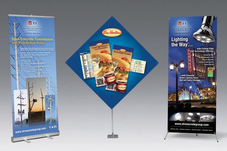 Banner stand printing displays for tradeshows