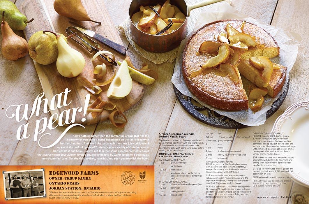 Orange Cornmeal Cake With Roasted Vanilla Pears