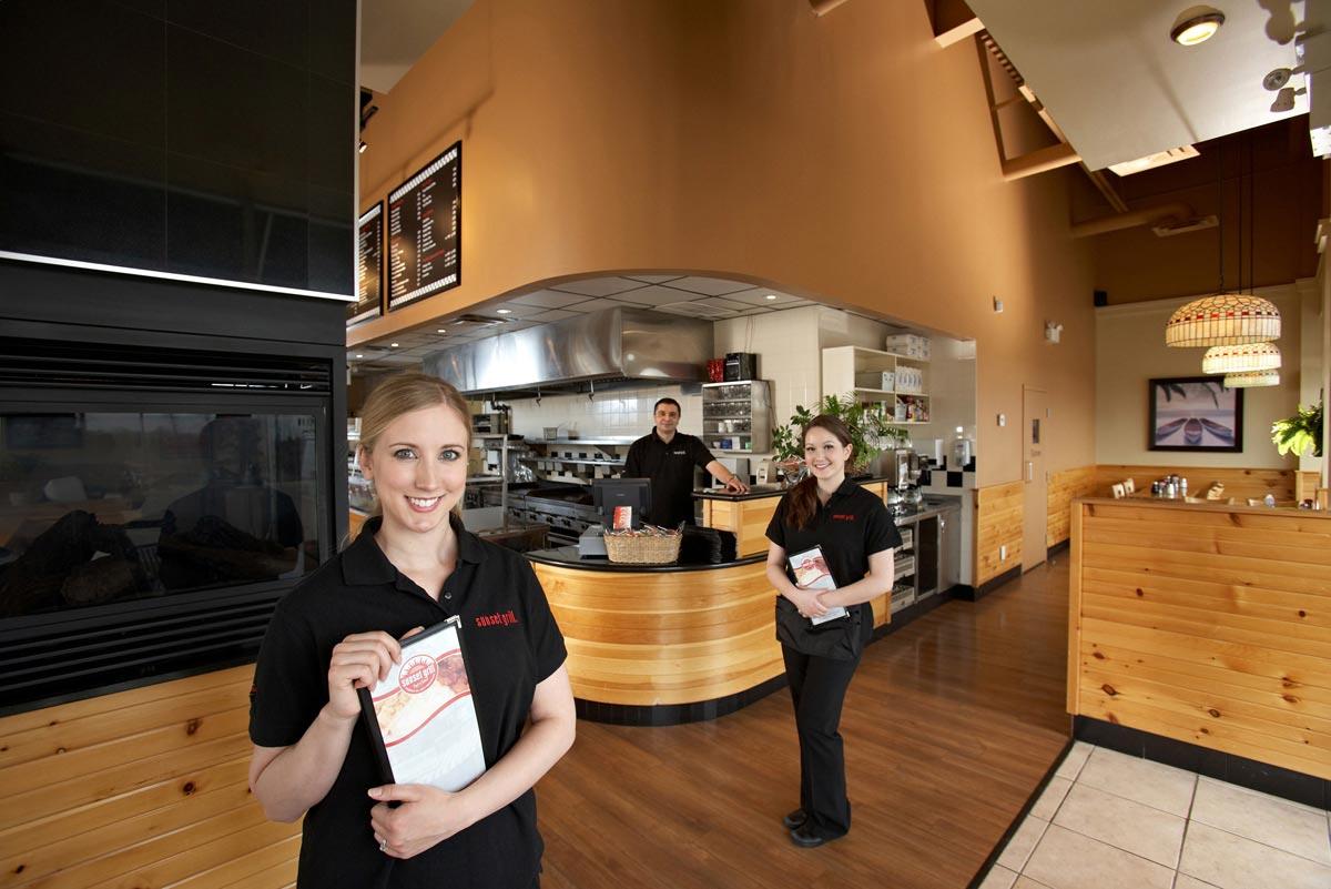 Burlington Group Portrait Photographer Sunset Grill waitress and chef