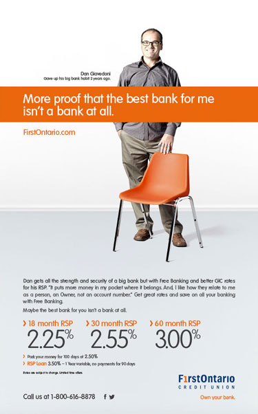 Lifestyle photographer banker advertisement for FirstOntario Credit Union and Play Advertising
