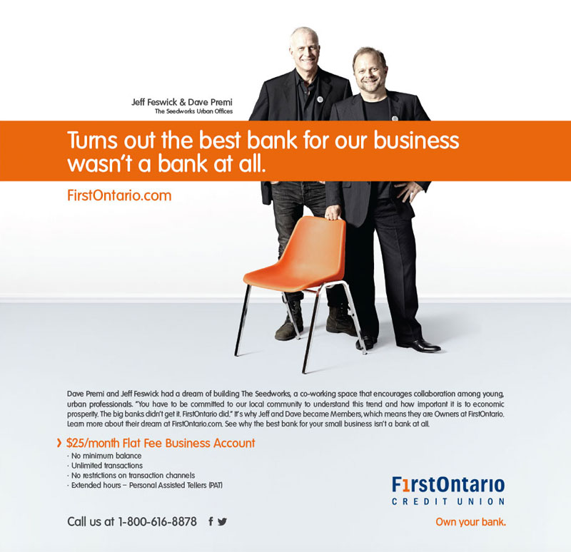 Toronto group lifestyle portrait photography of financial bank advertisement for FirstOntario Credit Union and Play Advertising