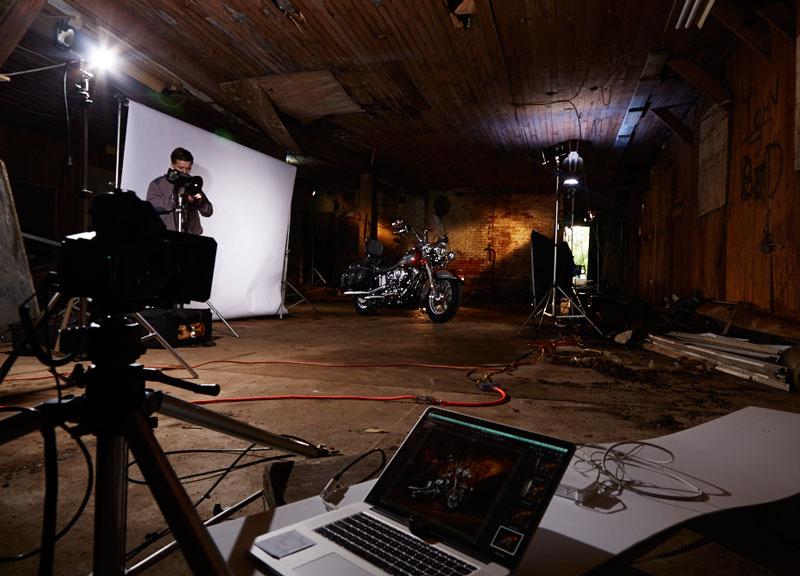 Magazine motorcycle photography photo shoot set up in old building Niagara Falls, Ontario