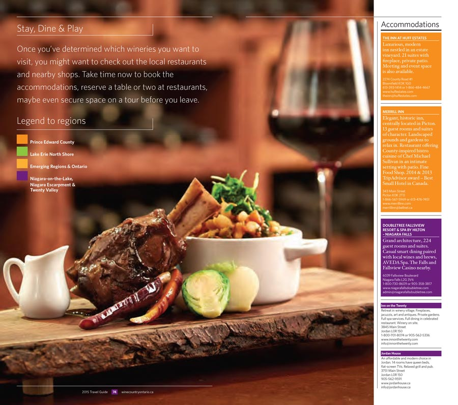 Culinary photography at winery for Wine Country Ontario