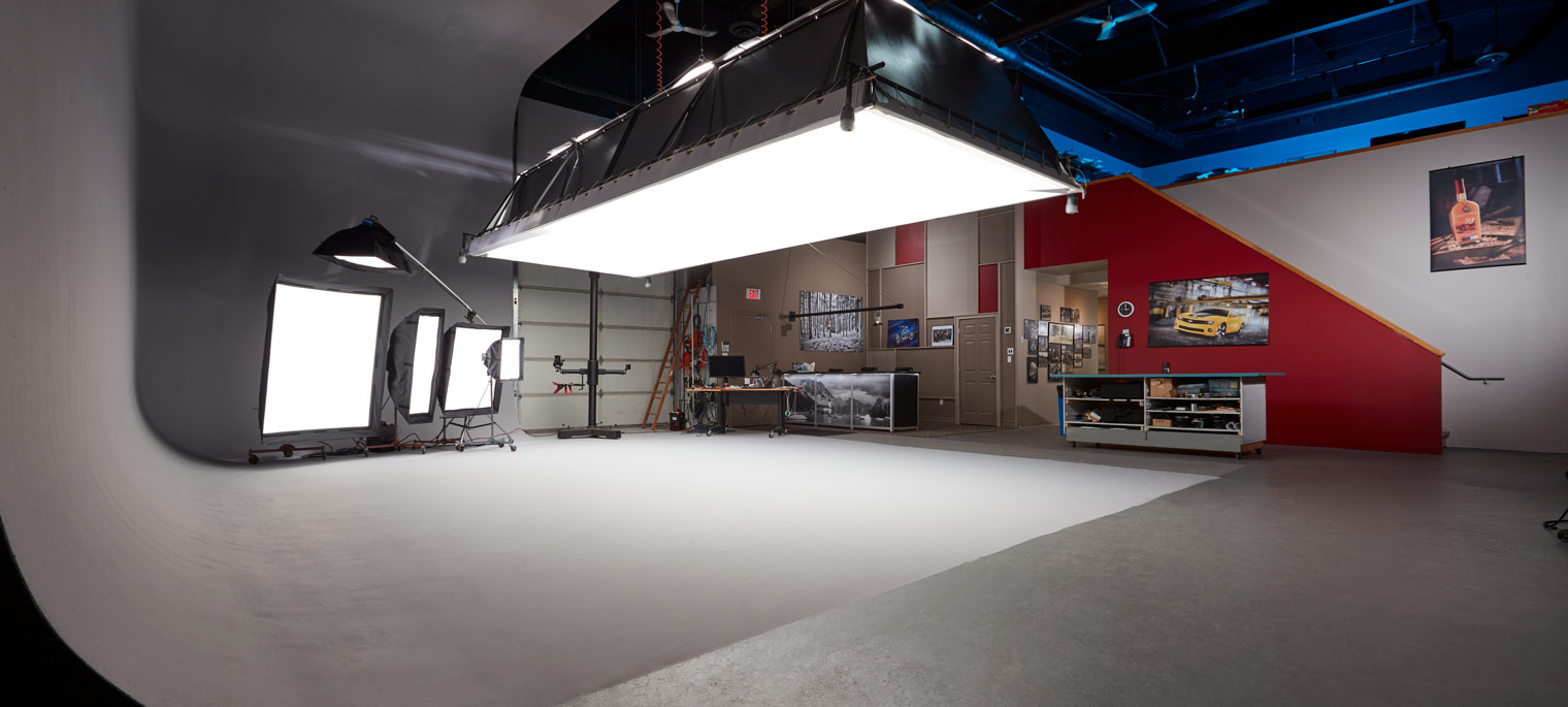 Photography studio interior facility drive in